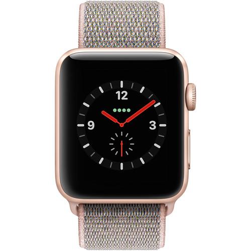 purchase cheap 8de30 ee24f Apple Watch Series 3 42mm Smartwatch (GPS + Cellular, Gold Aluminum Case,  Pink Sand Sport Loop)