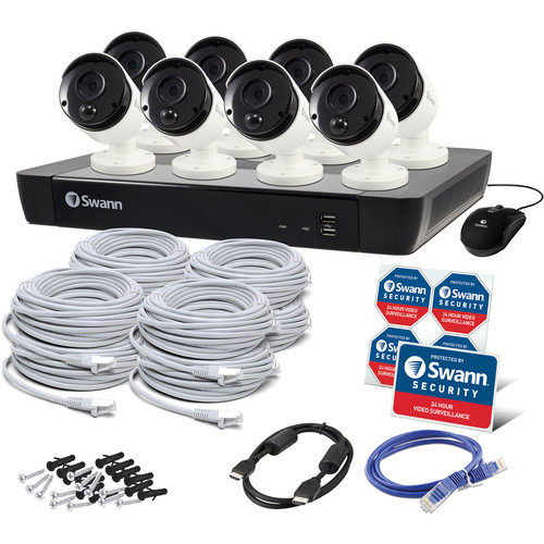 Swann 16-Channel 4K UHD NVR with 2TB HDD & 8 4K Outdoor Night Vision Bullet Cameras with Audio