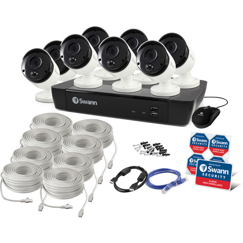 Swann 8-Channel 4K UHD NVR with 2TB HDD & 8 4K Outdoor Night Vision Bullet Cameras