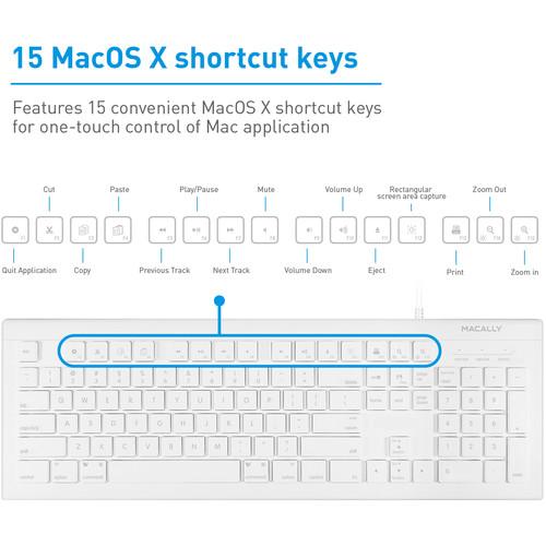 Macally 103 Key Full-Size USB Keyboard With Shortcut Keys for Mac (White)