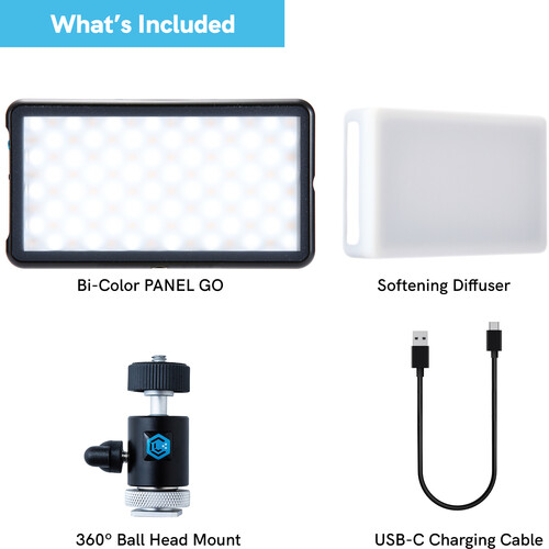Lume Cube Panel Go & Ball Head Camera Mount + with Light Stand Adapter