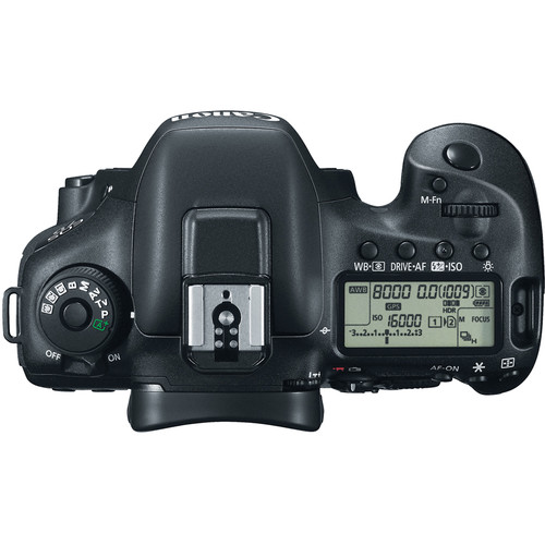 The top is just like the 5D Mark III with a more rugged design for the text on the mode dial
