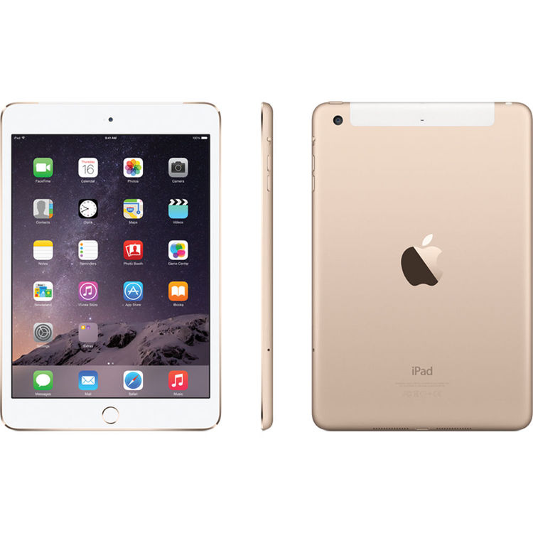 "MH392LL//A Gold Apple iPad Mini 3 7.9/"" Tablet 64GB Wi-Fi 4G LTE"