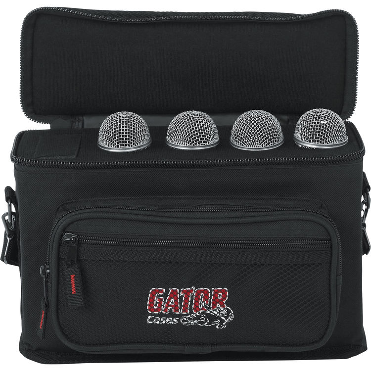Gator Cases Padded Microphone Carry Bag; Holds up to 4 GM-4 Wired Microphones Certified Refurbished