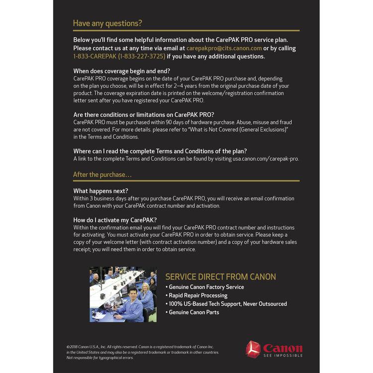 Canon CarePAK Pro Accidental Damage Protection for Cinema Lenses (3-Year,  $43000-$70999 99)