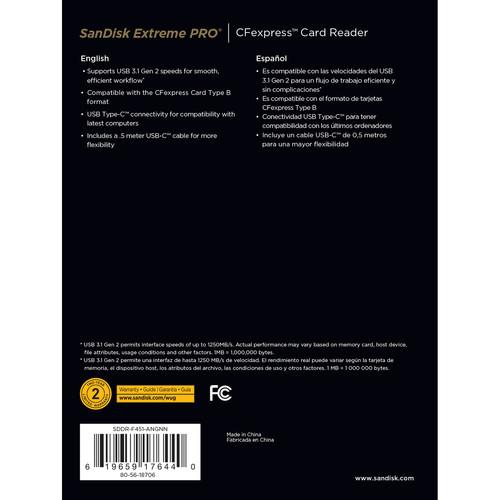 Tarjeta de memoria SanDisk Extreme Pro cfexpress card 128gb